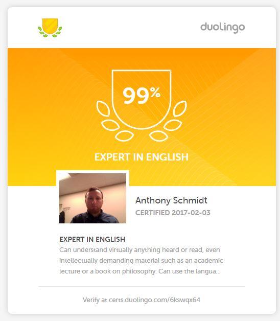 Duolingo Test score
